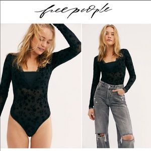 NWT Free People Babes In Bandeau Bodysuits, Black